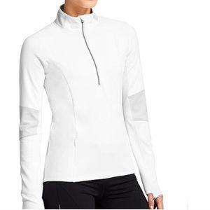 Athleta Lunar White Half Zip Athletic Pullover Top